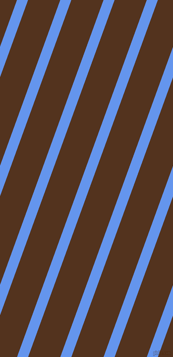 70 degree angle lines stripes, 21 pixel line width, 61 pixel line spacing, Cornflower Blue and Brown Bramble angled lines and stripes seamless tileable