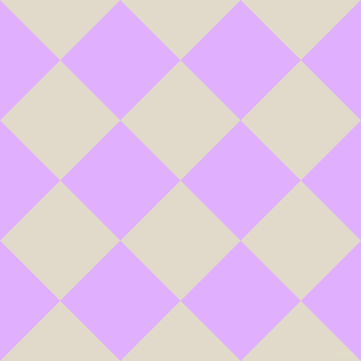 45/135 degree angle diagonal checkered chequered squares checker pattern checkers background, 168 pixel square size, , Albescent White and Mauve checkers chequered checkered squares seamless tileable