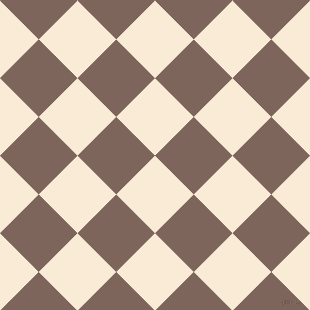 45/135 degree angle diagonal checkered chequered squares checker pattern checkers background, 113 pixel square size, , Antique White and Russett checkers chequered checkered squares seamless tileable