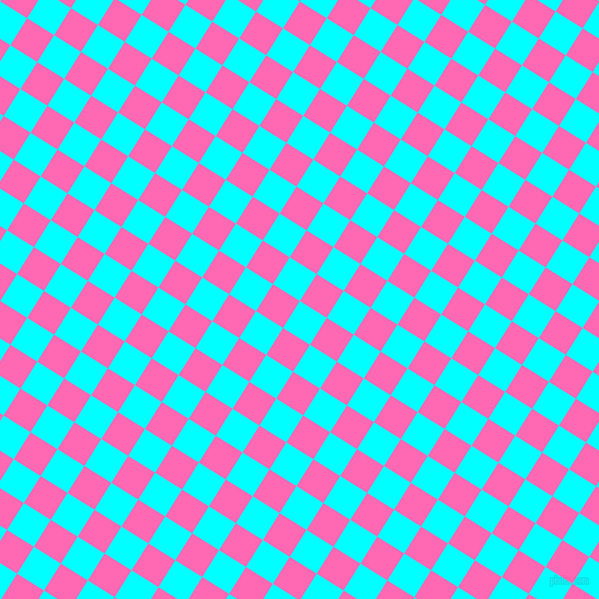 58/148 degree angle diagonal checkered chequered squares checker pattern checkers background, 29 pixel square size, , Aqua and Hot Pink checkers chequered checkered squares seamless tileable