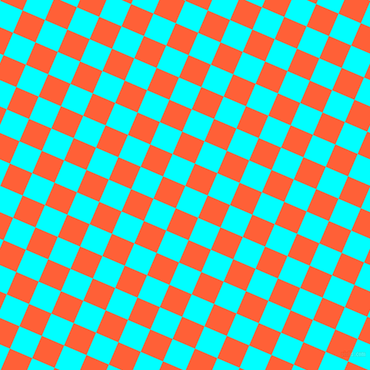 67/157 degree angle diagonal checkered chequered squares checker pattern checkers background, 35 pixel square size, , Aqua and Outrageous Orange checkers chequered checkered squares seamless tileable