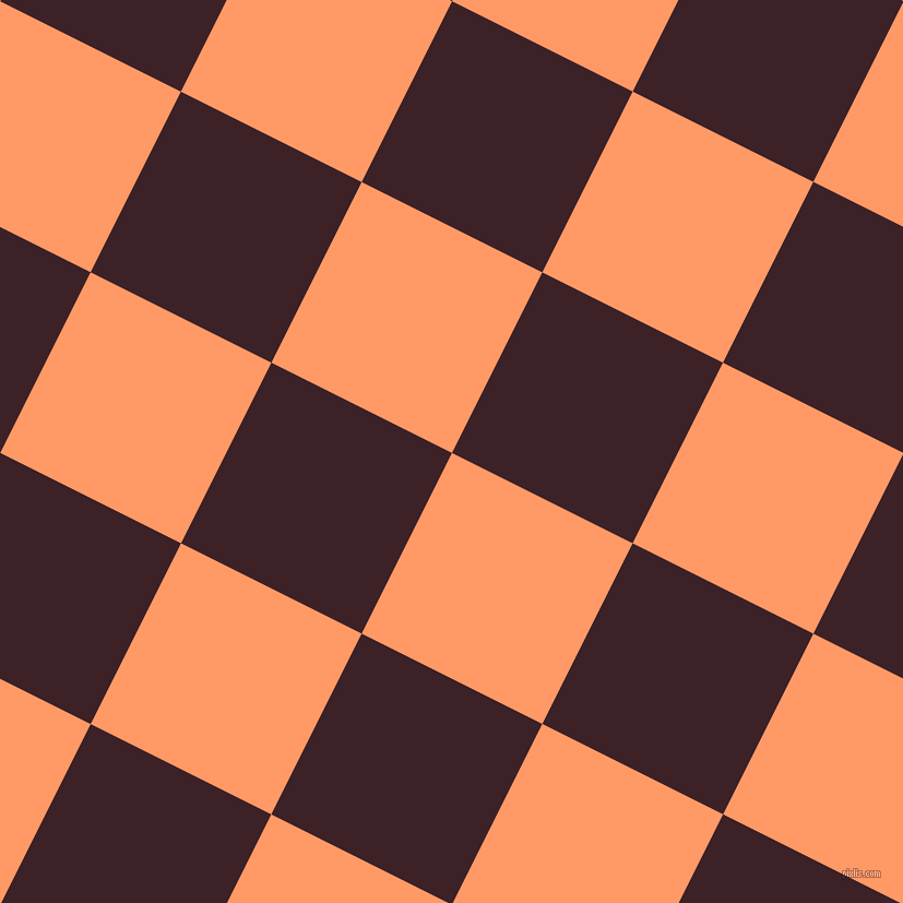 63/153 degree angle diagonal checkered chequered squares checker pattern checkers background, 185 pixel square size, , Atomic Tangerine and Temptress checkers chequered checkered squares seamless tileable