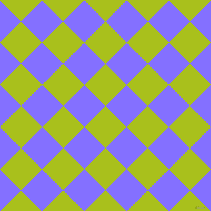 45/135 degree angle diagonal checkered chequered squares checker pattern checkers background, 104 pixel square size, , Bahia and Light Slate Blue checkers chequered checkered squares seamless tileable