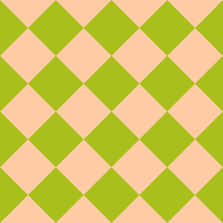 45/135 degree angle diagonal checkered chequered squares checker pattern checkers background, 77 pixel square size, , Bahia and Peach checkers chequered checkered squares seamless tileable