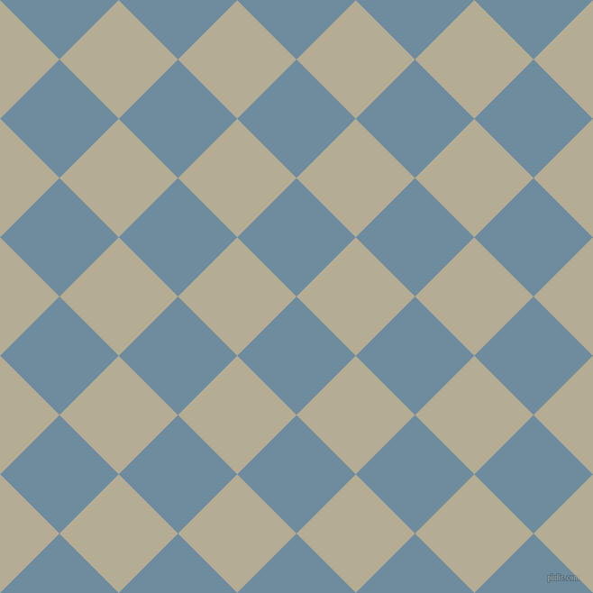 45/135 degree angle diagonal checkered chequered squares checker pattern checkers background, 93 pixel squares size, Bermuda Grey and Bison Hide checkers chequered checkered squares seamless tileable
