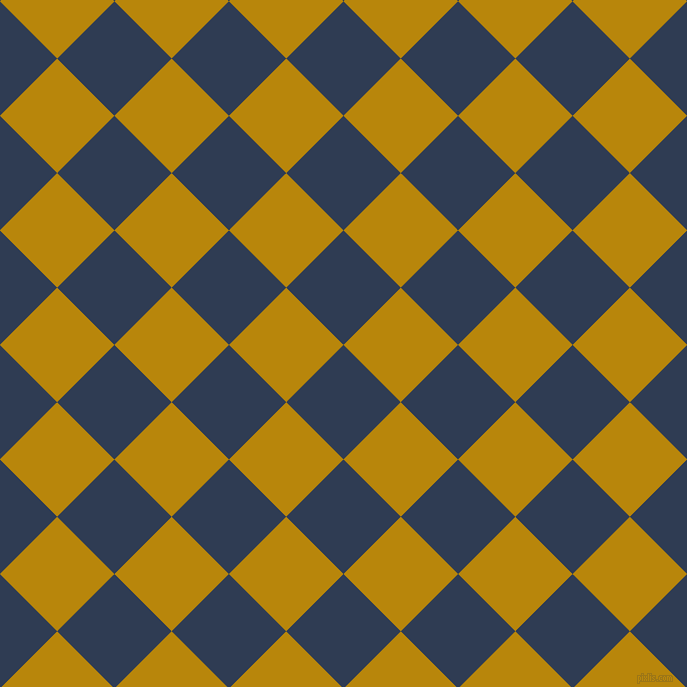 45/135 degree angle diagonal checkered chequered squares checker pattern checkers background, 81 pixel square size, , Biscay and Dark Goldenrod checkers chequered checkered squares seamless tileable