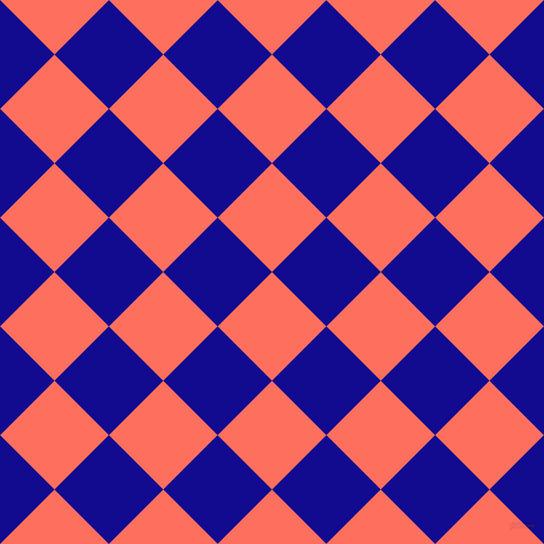 45/135 degree angle diagonal checkered chequered squares checker pattern checkers background, 108 pixel squares size, , Bittersweet and Ultramarine checkers chequered checkered squares seamless tileable