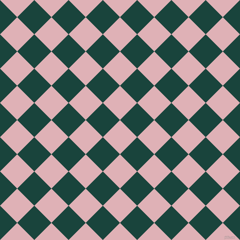 45/135 degree angle diagonal checkered chequered squares checker pattern checkers background, 82 pixel squares size, , Blossom and Deep Teal checkers chequered checkered squares seamless tileable