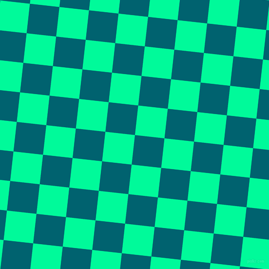 84/174 degree angle diagonal checkered chequered squares checker pattern checkers background, 61 pixel squares size, Blue Lagoon and Medium Spring Green checkers chequered checkered squares seamless tileable