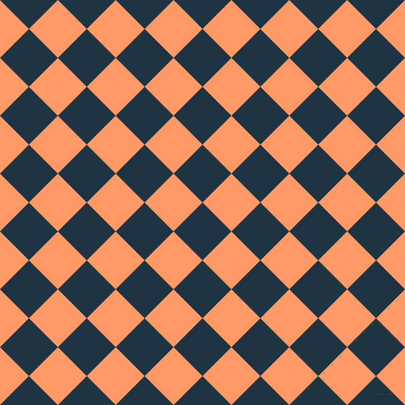 45/135 degree angle diagonal checkered chequered squares checker pattern checkers background, 80 pixel square size, , Blue Whale and Atomic Tangerine checkers chequered checkered squares seamless tileable