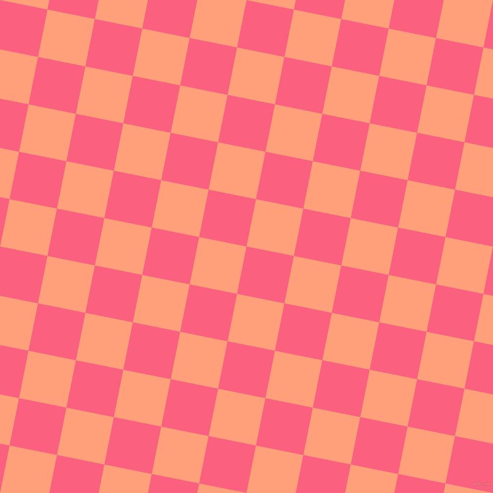79/169 degree angle diagonal checkered chequered squares checker pattern checkers background, 99 pixel squares size, , Brink Pink and Light Salmon checkers chequered checkered squares seamless tileable