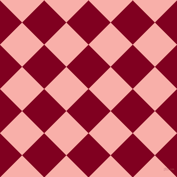 45/135 degree angle diagonal checkered chequered squares checker pattern checkers background, 107 pixel square size, Burgundy and Sundown checkers chequered checkered squares seamless tileable