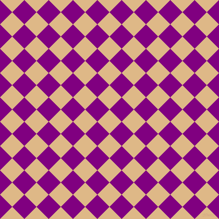 45/135 degree angle diagonal checkered chequered squares checker pattern checkers background, 56 pixel squares size, , Burly Wood and Purple checkers chequered checkered squares seamless tileable