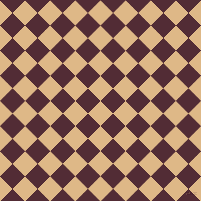 45/135 degree angle diagonal checkered chequered squares checker pattern checkers background, 58 pixel square size, , Burly Wood and Wine Berry checkers chequered checkered squares seamless tileable
