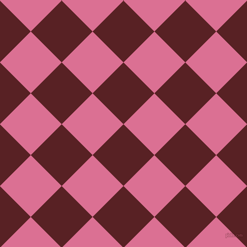 45/135 degree angle diagonal checkered chequered squares checker pattern checkers background, 89 pixel squares size, , Burnt Crimson and Pale Violet Red checkers chequered checkered squares seamless tileable