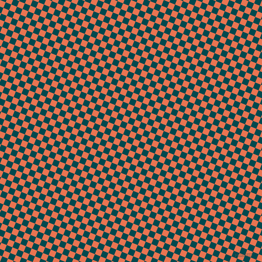68/158 degree angle diagonal checkered chequered squares checker pattern checkers background, 12 pixel square size, , Burnt Sienna and Sherpa Blue checkers chequered checkered squares seamless tileable