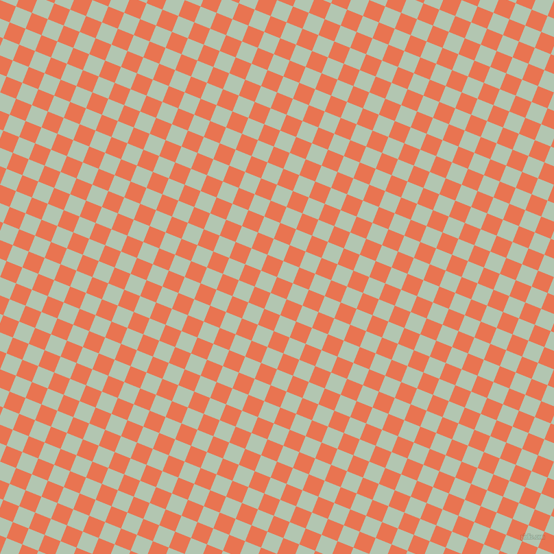 68/158 degree angle diagonal checkered chequered squares checker pattern checkers background, 25 pixel squares size, , Burnt Sienna and Zanah checkers chequered checkered squares seamless tileable