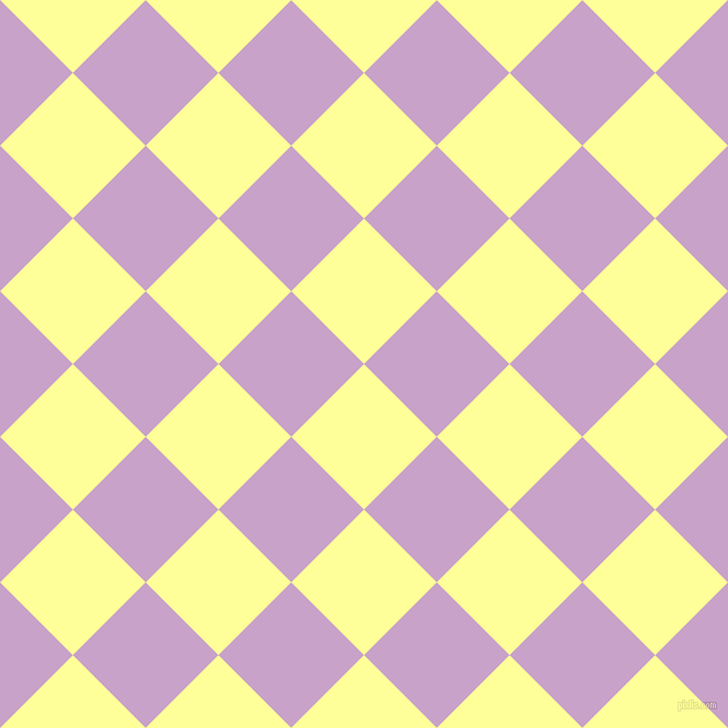 45/135 degree angle diagonal checkered chequered squares checker pattern checkers background, 94 pixel squares size, , Canary and Lilac checkers chequered checkered squares seamless tileable