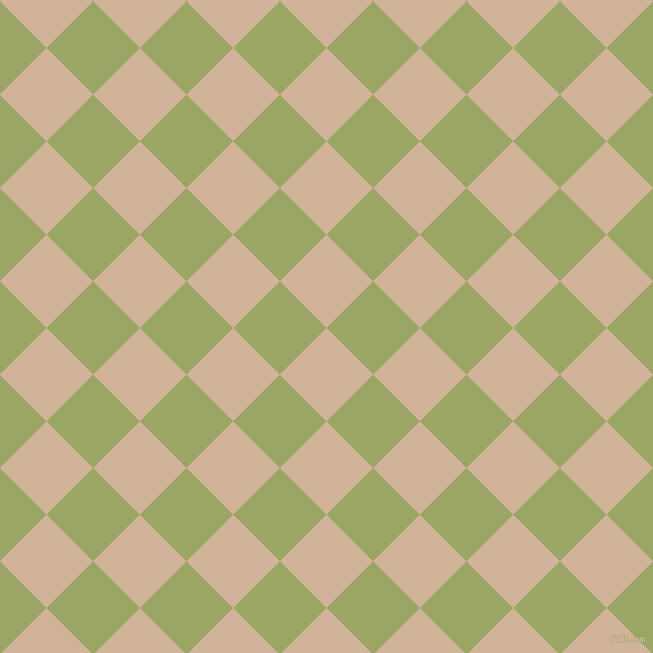 45/135 degree angle diagonal checkered chequered squares checker pattern checkers background, 66 pixel squares size, , Cashmere and Green Smoke checkers chequered checkered squares seamless tileable
