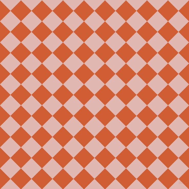 45/135 degree angle diagonal checkered chequered squares checker pattern checkers background, 58 pixel square size, , Cavern Pink and Chilean Fire checkers chequered checkered squares seamless tileable