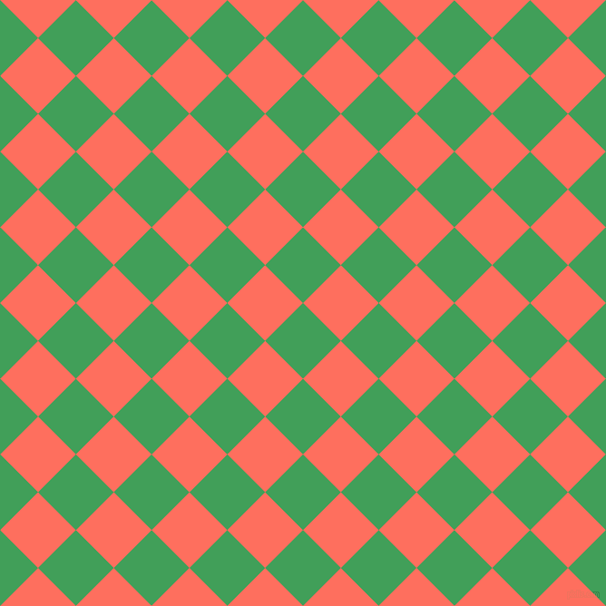 45/135 degree angle diagonal checkered chequered squares checker pattern checkers background, 59 pixel square size, , Chateau Green and Bittersweet checkers chequered checkered squares seamless tileable