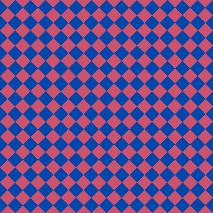 45/135 degree angle diagonal checkered chequered squares checker pattern checkers background, 36 pixel square size, , Cobalt and Cabaret checkers chequered checkered squares seamless tileable