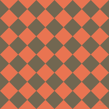 45/135 degree angle diagonal checkered chequered squares checker pattern checkers background, 49 pixel square size, , Coffee and Burnt Sienna checkers chequered checkered squares seamless tileable