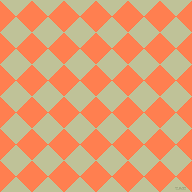 45/135 degree angle diagonal checkered chequered squares checker pattern checkers background, 73 pixel square size, , Coral and Green Mist checkers chequered checkered squares seamless tileable