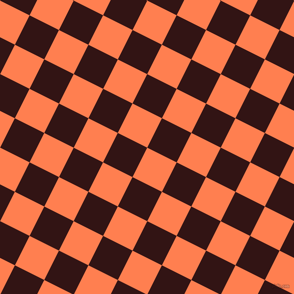 63/153 degree angle diagonal checkered chequered squares checker pattern checkers background, 67 pixel square size, , Coral and Seal Brown checkers chequered checkered squares seamless tileable