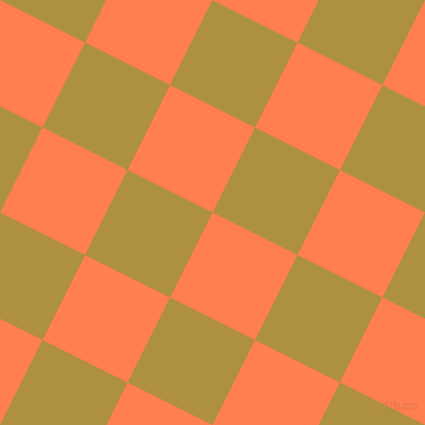 63/153 degree angle diagonal checkered chequered squares checker pattern checkers background, 95 pixel squares size, Coral and Turmeric checkers chequered checkered squares seamless tileable