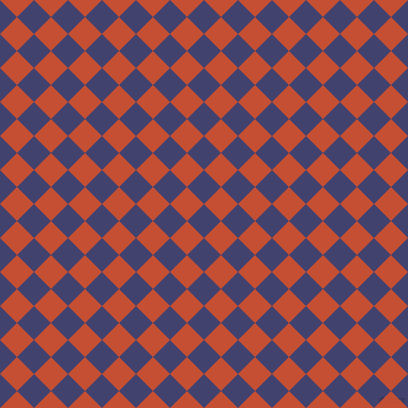 45/135 degree angle diagonal checkered chequered squares checker pattern checkers background, 34 pixel squares size, , Corn Flower Blue and Trinidad checkers chequered checkered squares seamless tileable