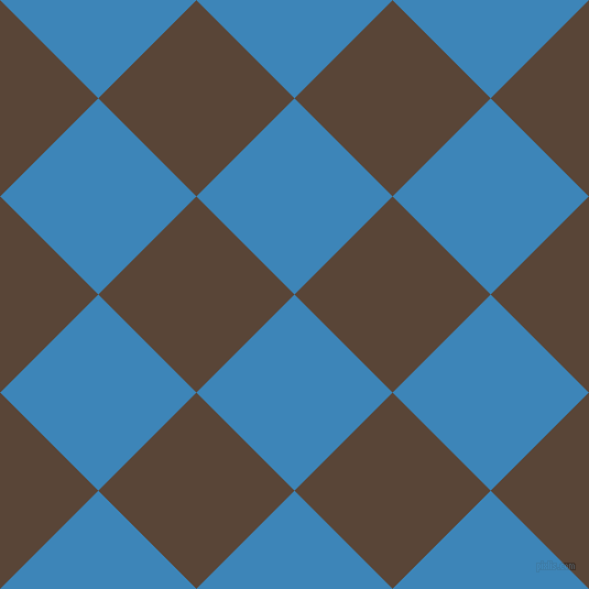 45/135 degree angle diagonal checkered chequered squares checker pattern checkers background, 126 pixel square size, Curious Blue and Brown Derby checkers chequered checkered squares seamless tileable