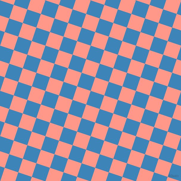 72/162 degree angle diagonal checkered chequered squares checker pattern checkers background, 48 pixel squares size, , Curious Blue and Mona Lisa checkers chequered checkered squares seamless tileable