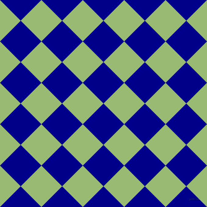 45/135 degree angle diagonal checkered chequered squares checker pattern checkers background, 96 pixel square size, , Dark Blue and Olivine checkers chequered checkered squares seamless tileable