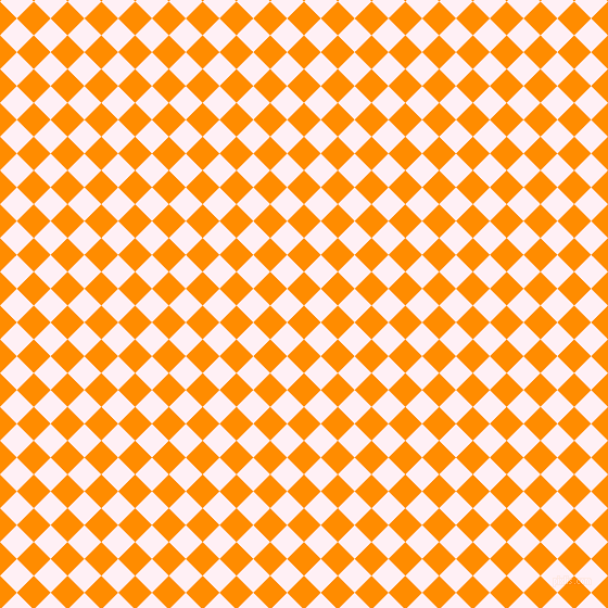 45/135 degree angle diagonal checkered chequered squares checker pattern checkers background, 22 pixel squares size, , Dark Orange and Lavender Blush checkers chequered checkered squares seamless tileable
