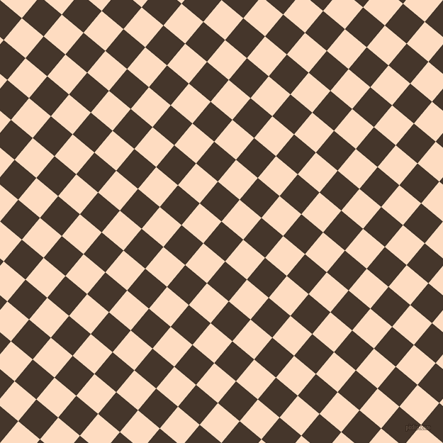 50/140 degree angle diagonal checkered chequered squares checker pattern checkers background, 40 pixel squares size, , Dark Rum and Karry checkers chequered checkered squares seamless tileable