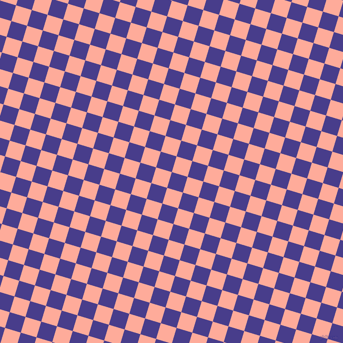 73/163 degree angle diagonal checkered chequered squares checker pattern checkers background, 33 pixel square size, , Dark Slate Blue and Rose Bud checkers chequered checkered squares seamless tileable
