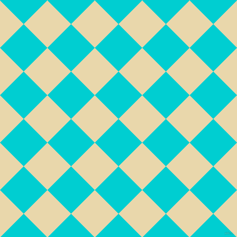 45/135 degree angle diagonal checkered chequered squares checker pattern checkers background, 114 pixel square size, , Dark Turquoise and Beeswax checkers chequered checkered squares seamless tileable