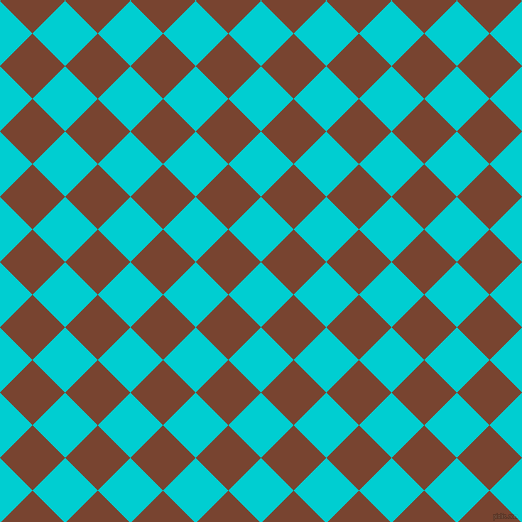 45/135 degree angle diagonal checkered chequered squares checker pattern checkers background, 65 pixel square size, , Dark Turquoise and Cumin checkers chequered checkered squares seamless tileable