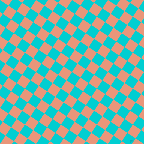 56/146 degree angle diagonal checkered chequered squares checker pattern checkers background, 35 pixel square size, , Dark Turquoise and Dark Salmon checkers chequered checkered squares seamless tileable