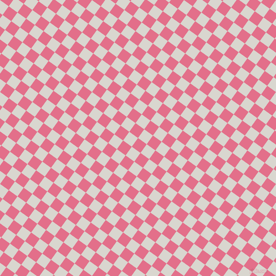 54/144 degree angle diagonal checkered chequered squares checker pattern checkers background, 22 pixel squares size, Deep Blush and Timberwolf checkers chequered checkered squares seamless tileable