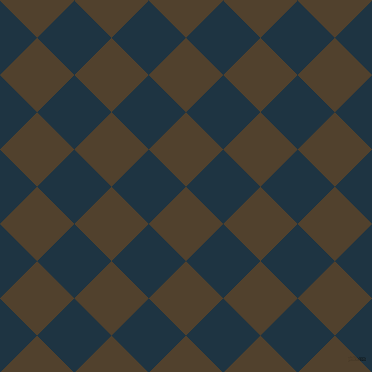 45/135 degree angle diagonal checkered chequered squares checker pattern checkers background, 105 pixel squares size, , Deep Bronze and Blue Whale checkers chequered checkered squares seamless tileable