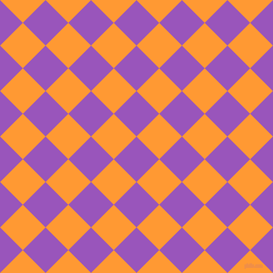 45/135 degree angle diagonal checkered chequered squares checker pattern checkers background, 63 pixel square size, , Deep Lilac and Neon Carrot checkers chequered checkered squares seamless tileable