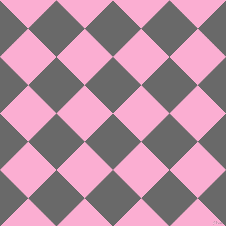 45/135 degree angle diagonal checkered chequered squares checker pattern checkers background, 136 pixel square size, , Dim Gray and Lavender Pink checkers chequered checkered squares seamless tileable