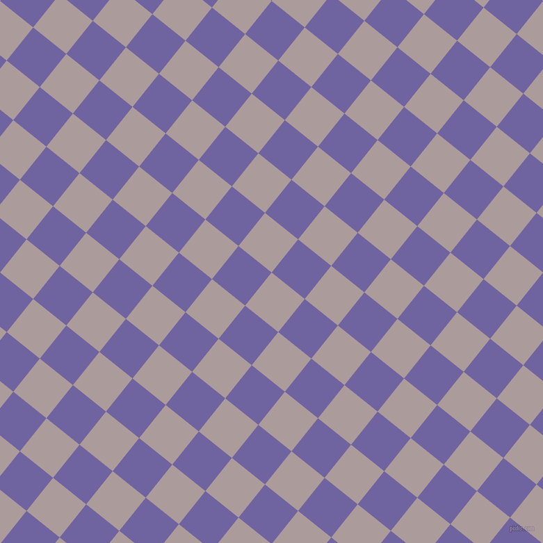 51/141 degree angle diagonal checkered chequered squares checker pattern checkers background, 61 pixel squares size, , Dusty Grey and Scampi checkers chequered checkered squares seamless tileable