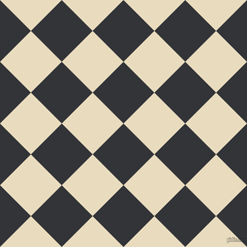 45/135 degree angle diagonal checkered chequered squares checker pattern checkers background, 85 pixel square size, , Ebony Clay and Double Pearl Lusta checkers chequered checkered squares seamless tileable
