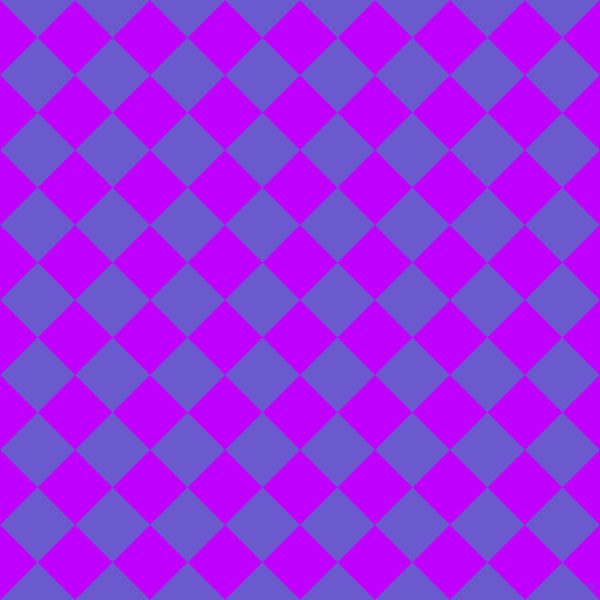 45/135 degree angle diagonal checkered chequered squares checker pattern checkers background, 53 pixel squares size, , Electric Purple and Slate Blue checkers chequered checkered squares seamless tileable