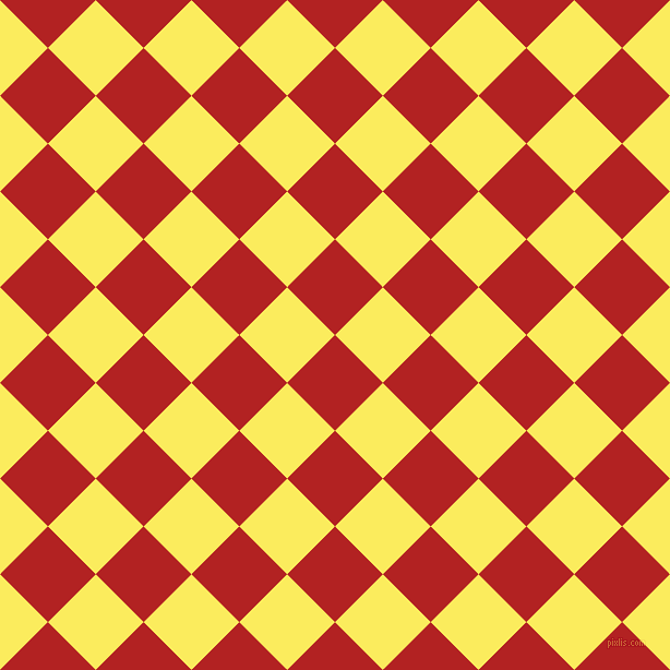 45/135 degree angle diagonal checkered chequered squares checker pattern checkers background, 62 pixel square size, , Fire Brick and Corn checkers chequered checkered squares seamless tileable