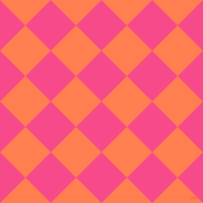 45/135 degree angle diagonal checkered chequered squares checker pattern checkers background, 120 pixel squares size, , French Rose and Coral checkers chequered checkered squares seamless tileable