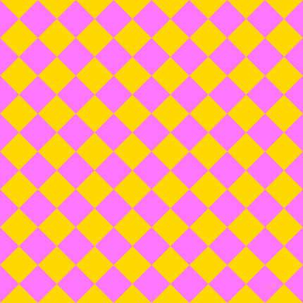 45/135 degree angle diagonal checkered chequered squares checker pattern checkers background, 38 pixel squares size, , Fuchsia Pink and School Bus Yellow checkers chequered checkered squares seamless tileable